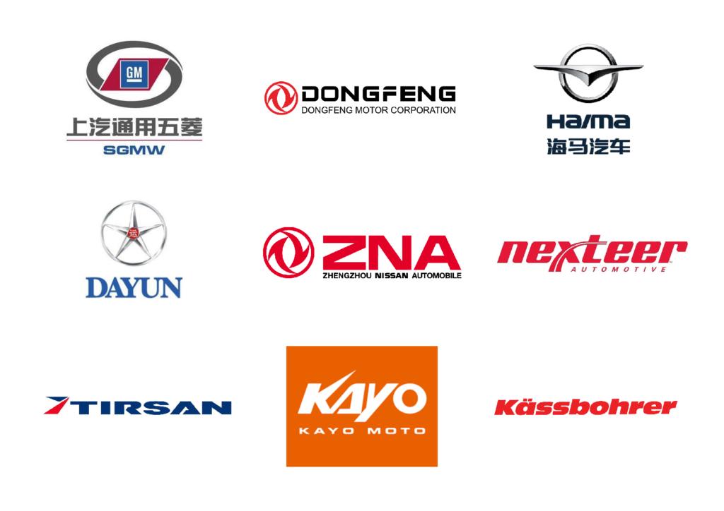SAIC-GM-Wuling Automobile,  Dongfeng Motor Corporation,  FAW Haima Automobile,  Chengdu Dayun Automotive Group,  Zhengzhou Nissan Automobile,  Nexteer Automotive Systems (Liuzhou),  TIRSAN Treyler A.S.,  Zhejiang Kayo Motor,  Kässbohrer Fahrzeugwerke GmbH